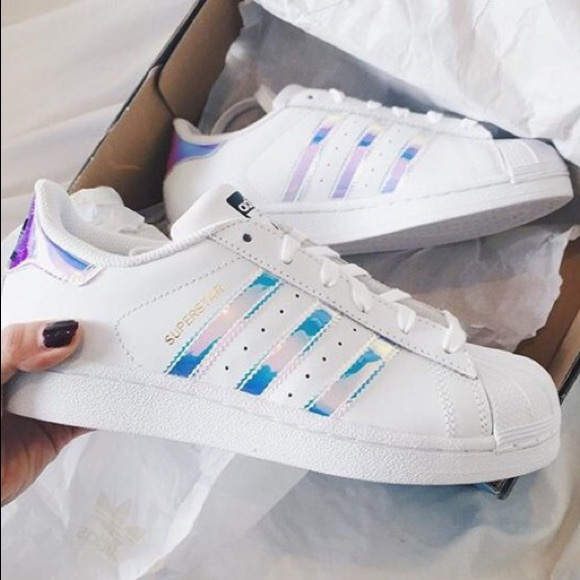 5808bd02b7c3 adidas Shoes - Adidas Superstar Iridescent Sneakers Womens 8